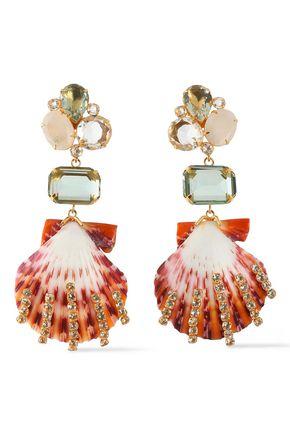 BOUNKIT 14-karat gold-plated, amethyst, moonstone and shell earrings