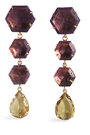 BOUNKIT Gold-tone, amethyst and quartz earrings