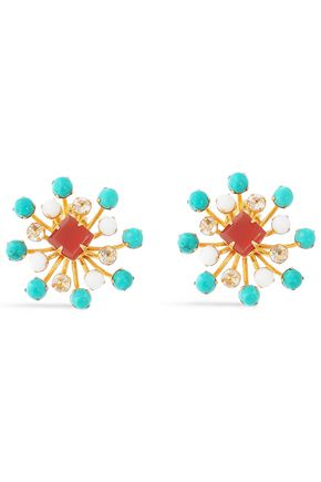 BOUNKIT Gold-tone, turquoise, carnelian and coral earrings
