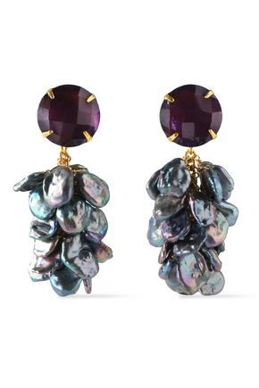 BOUNKIT Gold-tone, amethyst and keshi peacock pearl earrings
