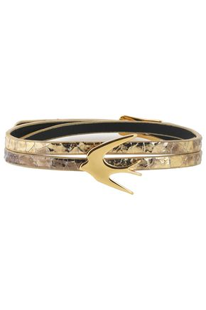 McQ Alexander McQueen Gold-tone metallic cracked-leather bracelet