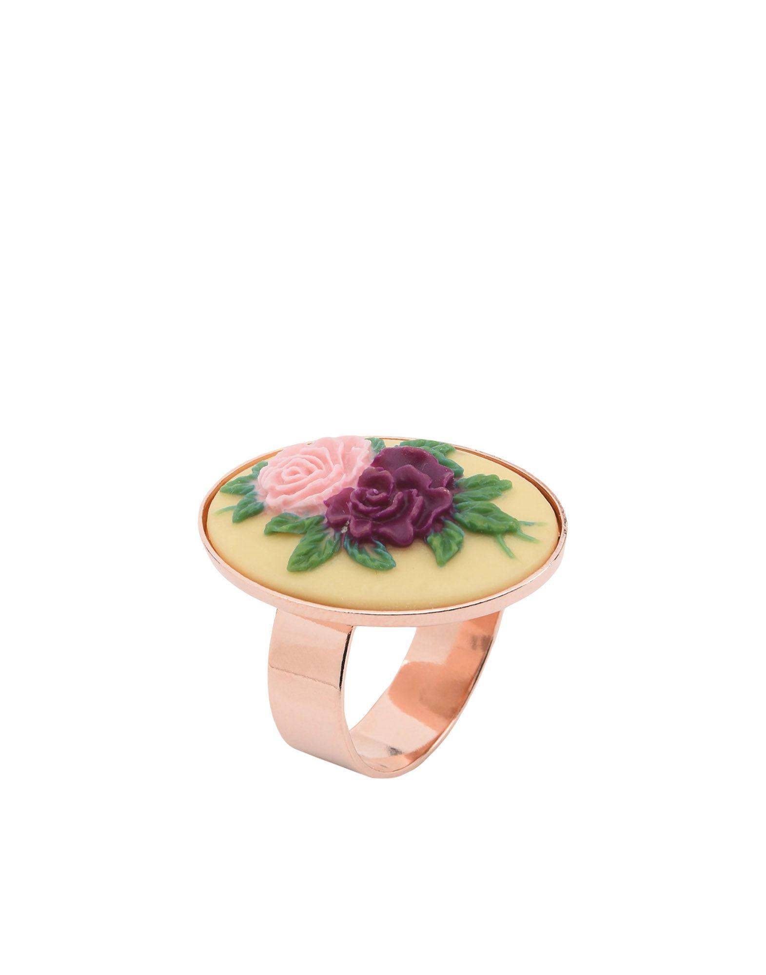 《セール開催中》FIRST PEOPLE FIRST レディース 指輪 イエロー one size 真鍮/ブラス / ポリウレタン ANELLO-CAMMEO-NEW