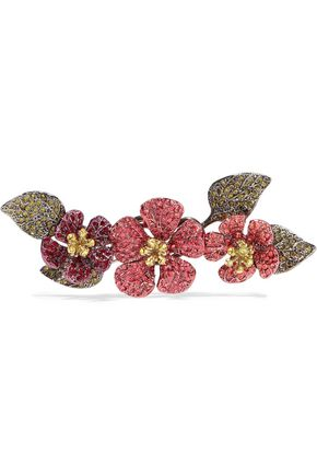 VALENTINO Hawaiian Couture crystal, gold-tone and gunmetal-tone brooch