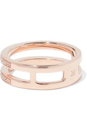 MONICA VINADER 18-karat rose gold-plated sterling silver diamond ring