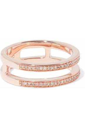 MONICA VINADER 18-karat rose gold-plated sterling silver diamond ring