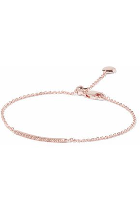 MONICA VINADER 18-karat rose gold-plated sterling silver diamond bracelet