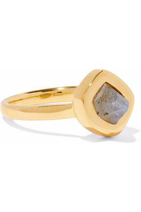 MONICA VINADER Petra Stacking 18-karat gold-plated sterling silver labradorite ring