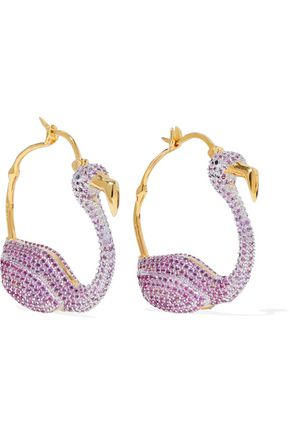 NOIR JEWELRY Gold-tone crystal hoop earrings