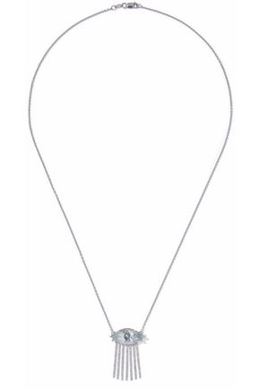 ILEANA MAKRI 18-karat white gold, diamond and topaz necklace