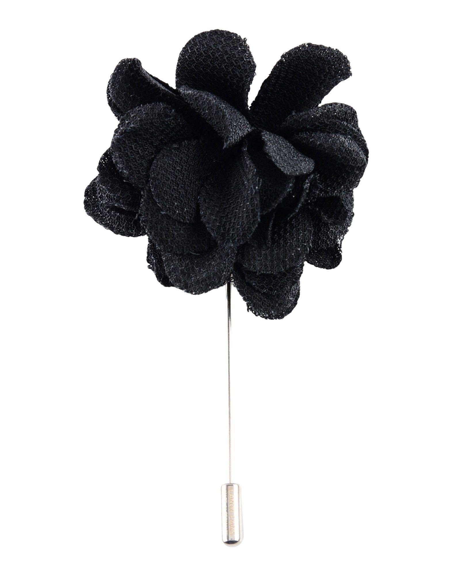 《送料無料》LANVIN メンズ カフリンク&タイピン ブラック 紡績繊維 / 金属