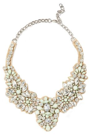 VALENTINO Crystal, stone and satin necklace