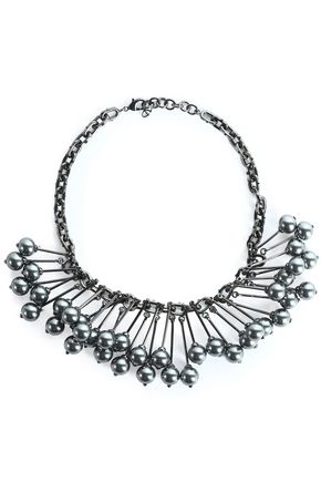 VALENTINO Gunmetal-tone necklace