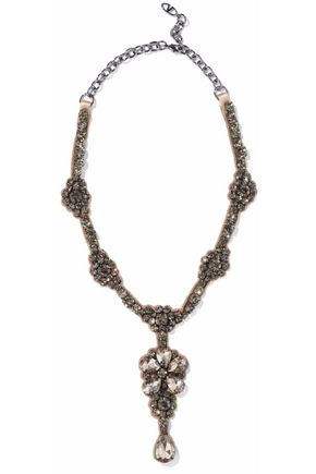 VALENTINO Silver-tone, satin and crystal necklace
