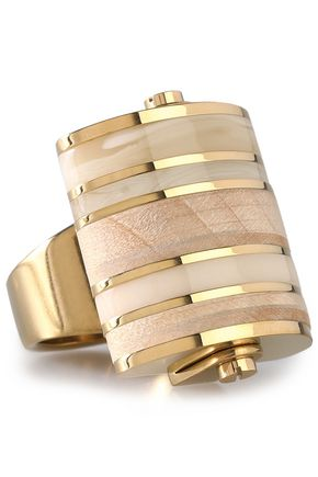 LANVIN Gold-tone, wood and acrylic ring