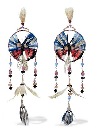 VALENTINO GARAVANI Gold-tone, feather, bead and crystal earrings