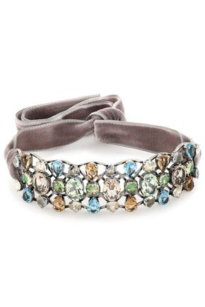 LANVIN Ginger silver-tone, velvet and crystal choker
