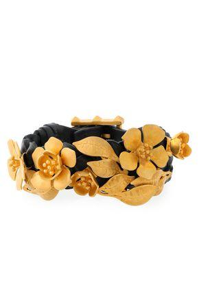 VALENTINO GARAVANI Gold-tone floral-appliquéd leather bracelet