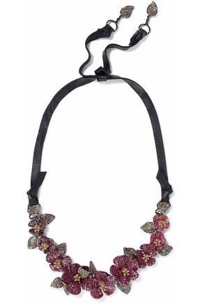 VALENTINO GARAVANI Crystal, coated metal and leather necklace