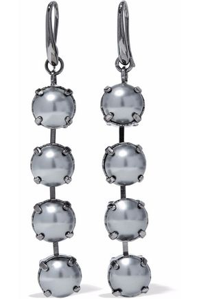 VALENTINO GARAVANI Gunmetal-tone stone earrings
