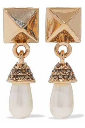 VALENTINO Rockstud gold-tone, faux pearl and crystal clip earrings