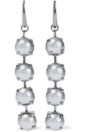 VALENTINO GARAVANI Gunmetal-tone faux pearl earrings