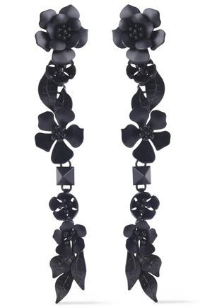 VALENTINO Enameled silver-tone earrings