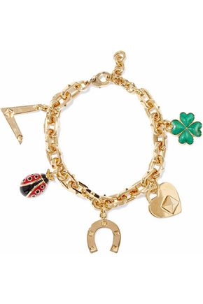 VALENTINO Gold-tone enamel bracelet