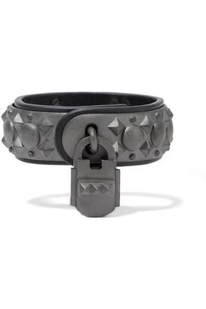VALENTINO Silver-tone leather bracelet