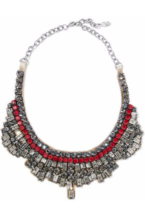 VALENTINO GARAVANI Silver-tone, crystal, bead and satin necklace