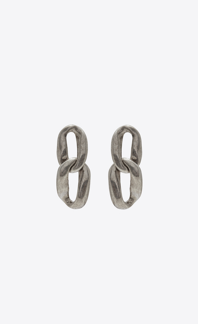SAINT LAURENT Earrings Woman Chain-link earrings in silver metal a_V4