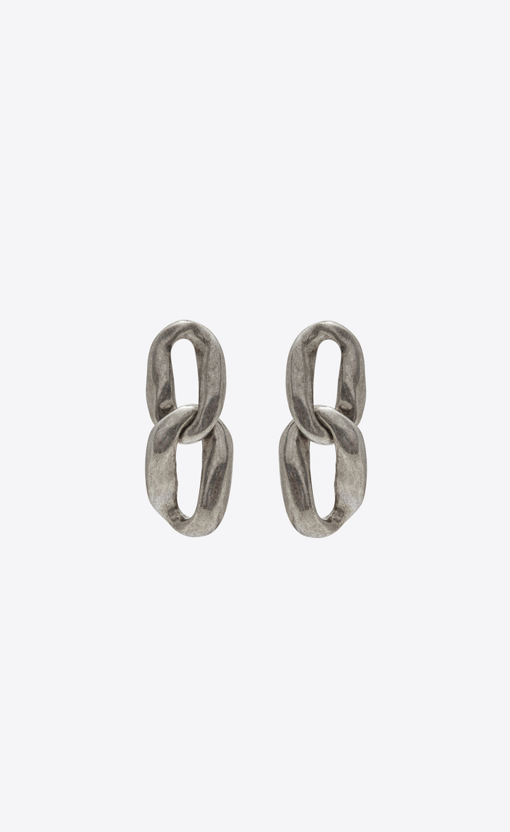 Chain Link Earrings In Silver Metal Front View