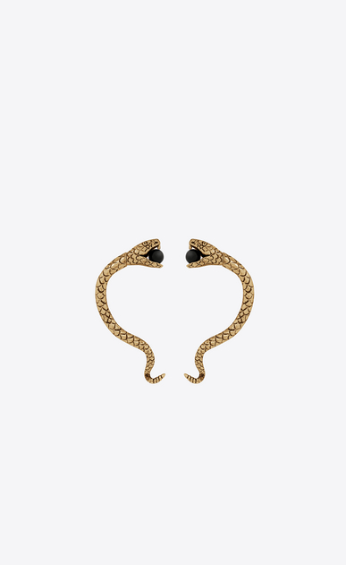 SAINT LAURENT Earrings Woman Snake ear jewelry in gold metal and black glass beads. a_V4