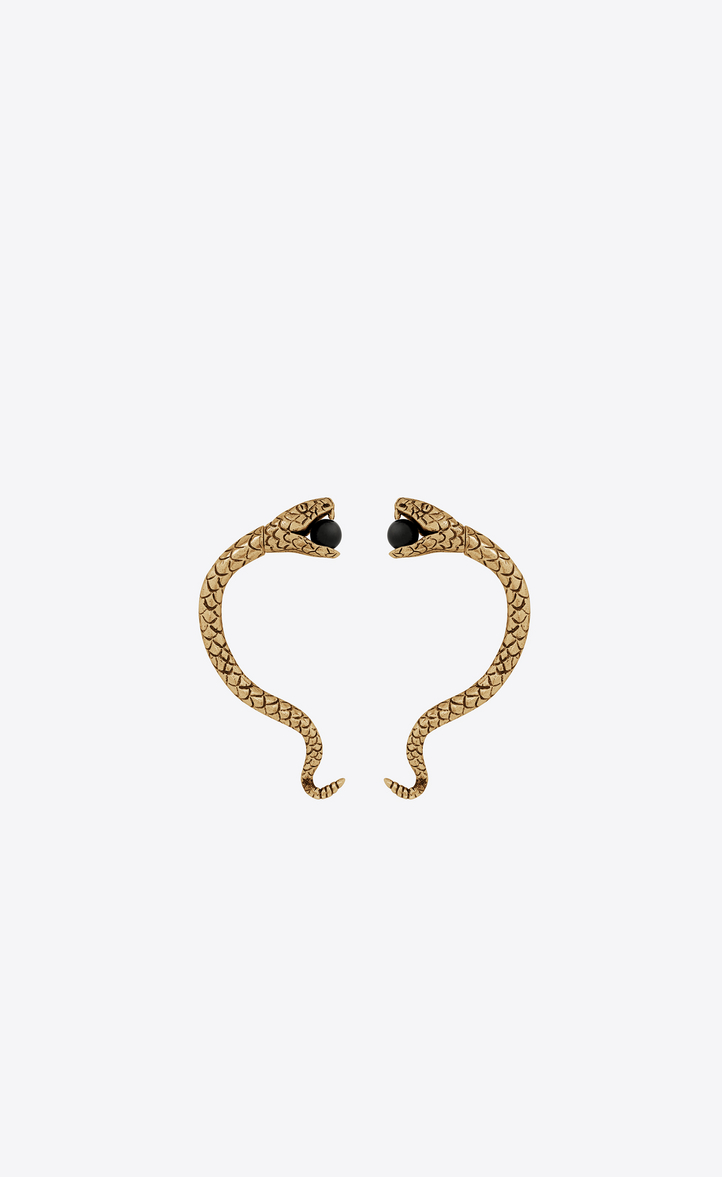 SAINT LAURENT SNAKE EAR JEWELRY IN GOLD METAL AND BLACK GLASS BEADS.