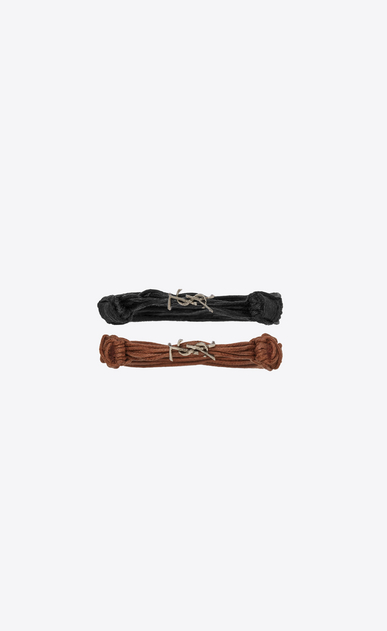 SAINT LAURENT Leather Bracelets Woman Opyum bracelets in black and brown waxed cords a_V4