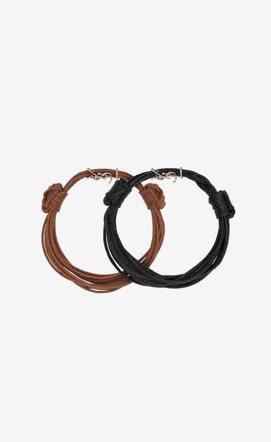 SAINT LAURENT Leather Bracelets Woman Opyum bracelets in black and brown waxed cords b_V4