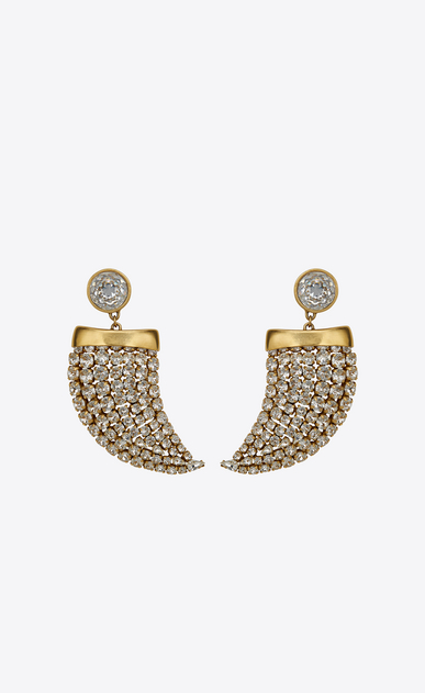 SAINT LAURENT Earrings Woman Smoking horn earrings in gold metal and white crystals a_V4