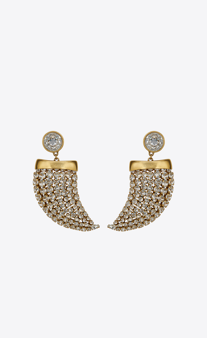 Smoking Horn Earrings In Gold Metal And White Crystals