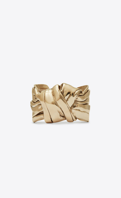 SAINT LAURENT Bracelets Woman Draped bow cuff bracelet in light gold metal a_V4