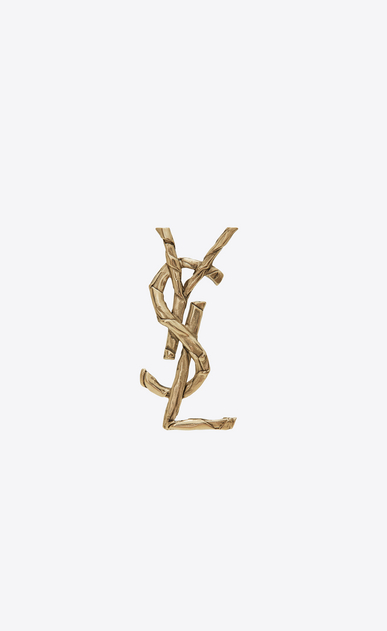 SAINT LAURENT Brooch Woman Monogram draped bow brooch in light gold metal a_V4