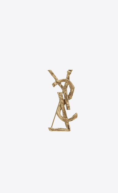 SAINT LAURENT Brooch Woman Monogram draped bow brooch in light gold metal b_V4