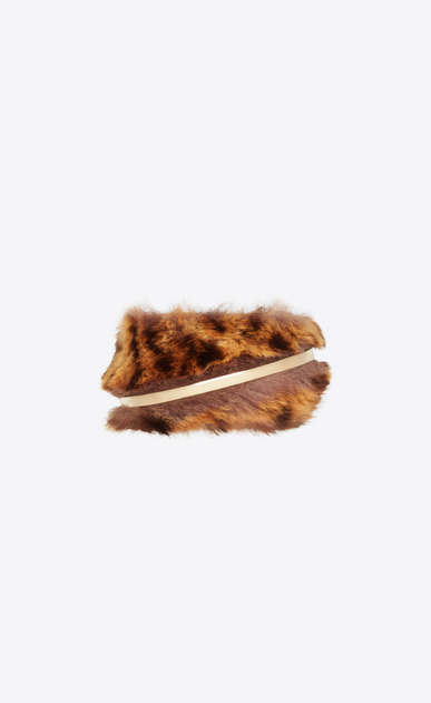 SAINT LAURENT Bracelets Woman Animal bracelet in gold metal and leopard-print fur a_V4