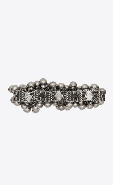 SAINT LAURENT Rings Woman Three-finger Folk ring with bells in silver metal b_V4