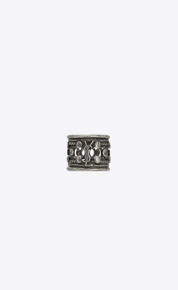 Folk Ring In Silver Metal, Oxidized Silver