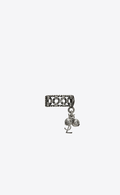 SAINT LAURENT Rings Woman Folk phalanx ring with bells in silver metal b_V4