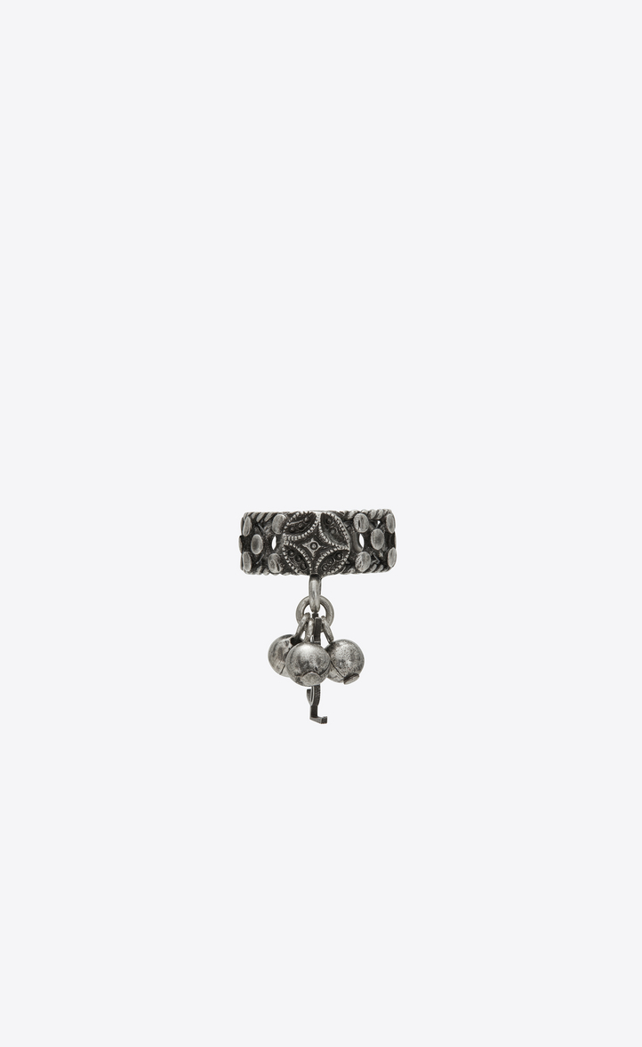 FOLK PHALANX RING WITH BELLS IN SILVER METAL