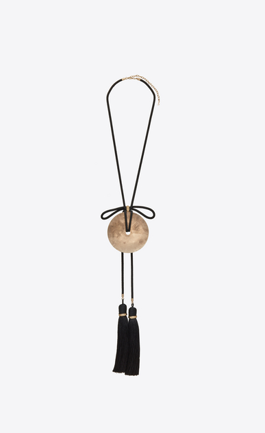 SAINT LAURENT Short Necklaces Woman Loulou passementerie necklace in gold metal with black tassels b_V4