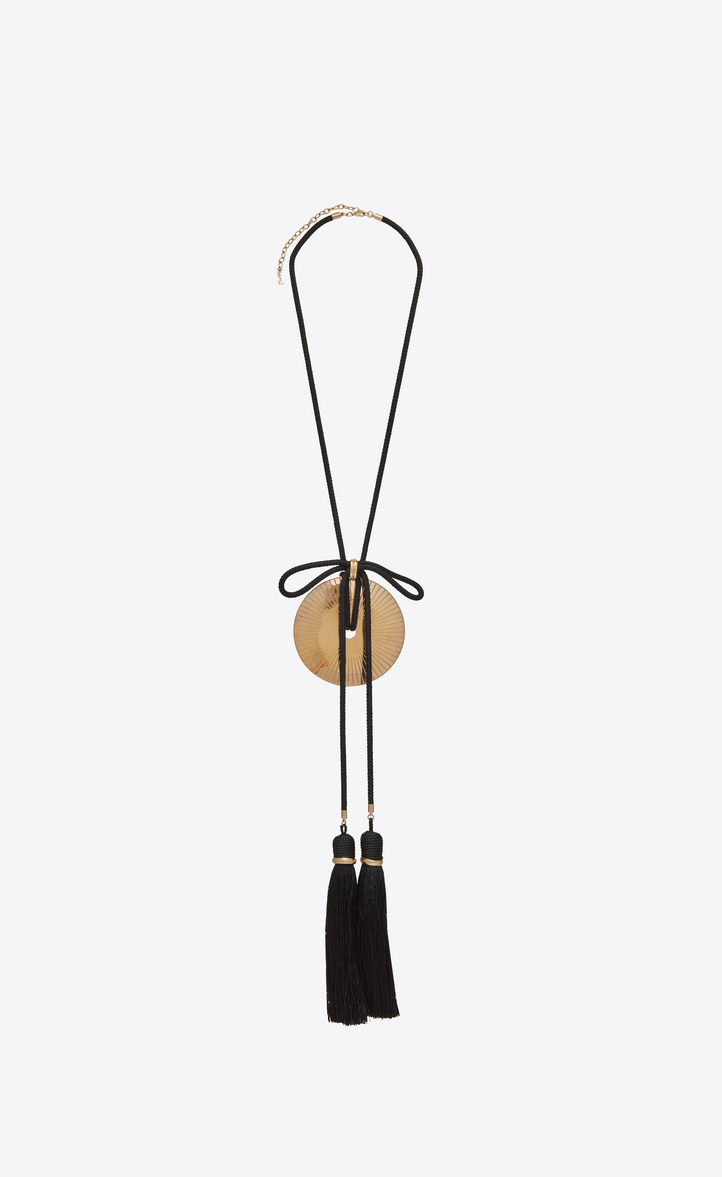 SAINT LAURENT LOULOU PASSEMENTERIE NECKLACE IN GOLD METAL WITH BLACK TASSELS
