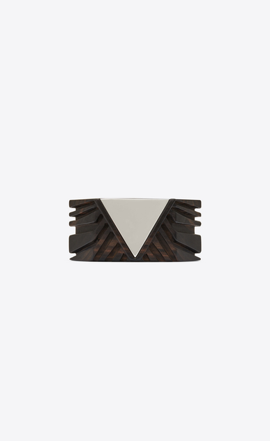 SAINT LAURENT Bracelets Woman Triangle cuff bracelet in brown wood and metal mirror a_V4