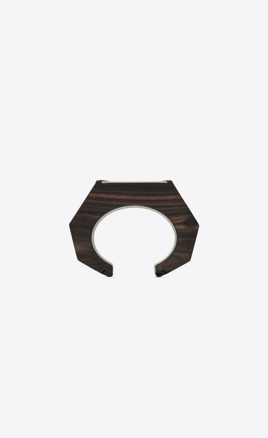 SAINT LAURENT Bracelets Woman Triangle cuff bracelet in brown wood and metal mirror b_V4