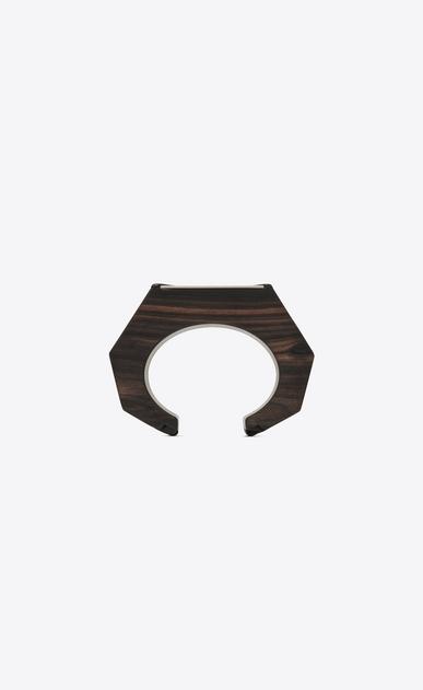 SAINT LAURENT Bracelets Damen Dreieckiger Armreif aus braunem Holz und verspiegeltem Metall b_V4